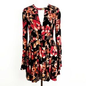 Free People Floral Print Long Sleeve Tunic Dress